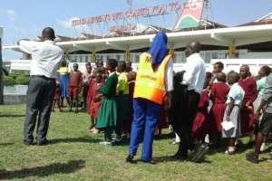 Pupils at Mombasa airport