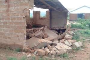 Collapsed girls' toilet block at Kisimenyi Primary