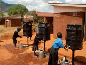 Existing hand-washing facilities at a school
