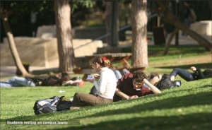 Students resting on campus