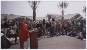 Mayor O'Neill speaking at the Village Opening 2001