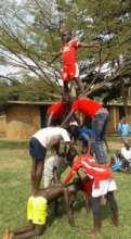 Acrobats practice