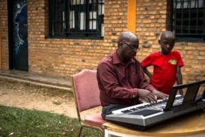 Music teacher and kid