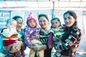 Mothers inside an Aura Freedom shelter in Nepal