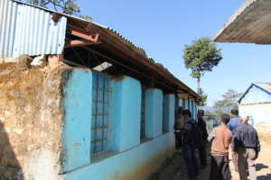 A look at some outer wall damage of the school