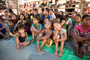 Quake-affected children in a temporary shelter