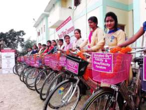 Girls with the bicycle gift