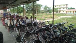 Bicycles arranged for the gifting ceremony