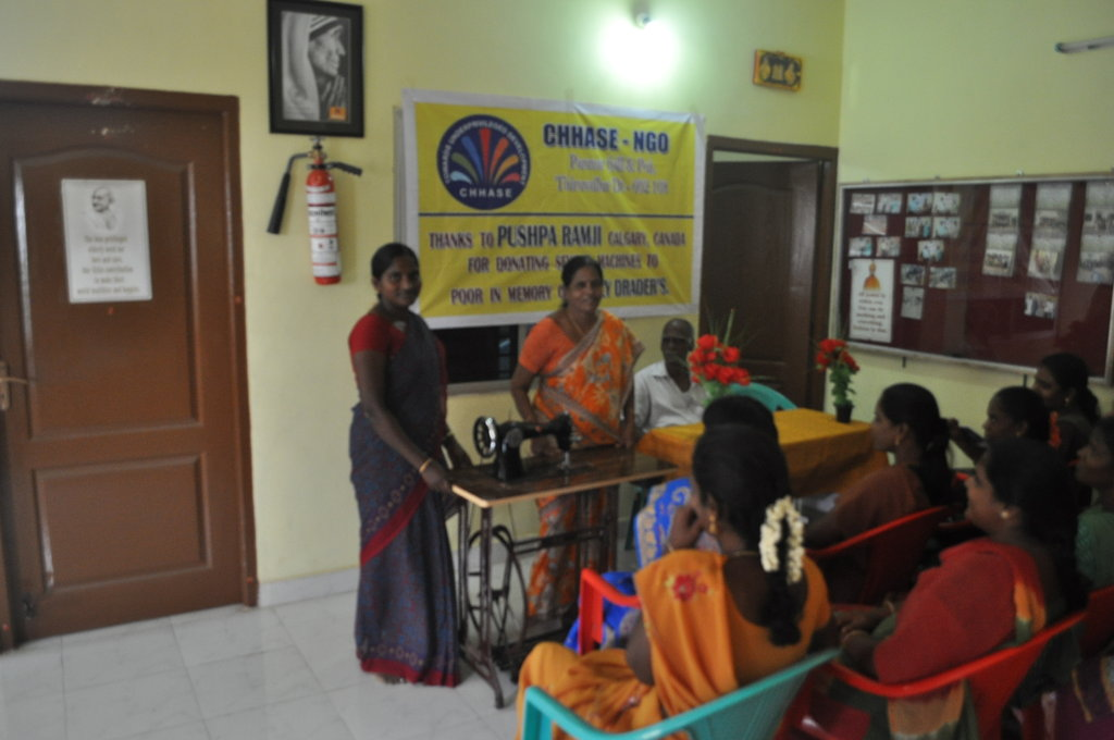 Sewing machine to poor women to start business