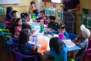 Students at the Preschool Nutrition Center