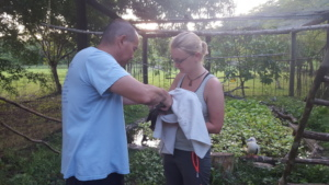 Dr Duane & Angie with the barn owl