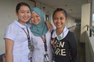 Azeezah and classmates at Nursing School