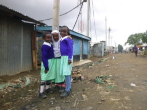 Pupils outside the school