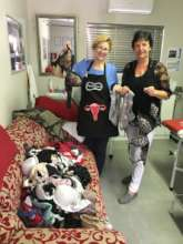 Receiving a donation of bras for patients