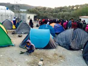 Inside a temporary camp on Lesvos