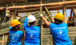 All Hands Volunteers rebuilding a home