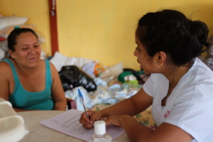 Nurse Alexia provides contraception in a shelter