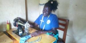 AP support helps Florence in Uganda to make masks