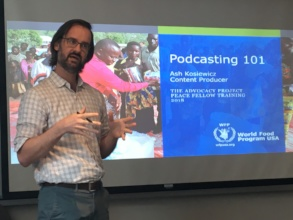 Ash, a 2008 fellow, gives a training in podcasting
