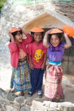 School girls playing around
