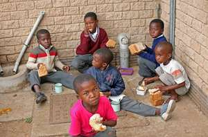 Some of our sponsored kids eating lunch