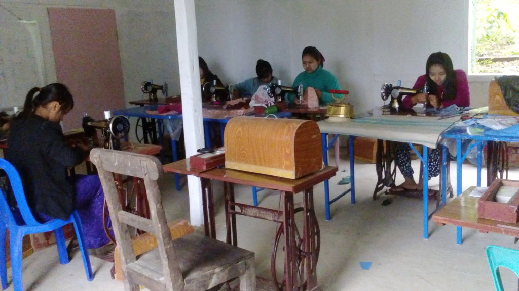 Tailoring training for girls in Myanmar