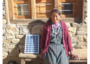 Happy with her new solar panel.