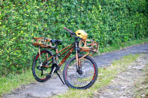 Black baamboo bike with front & rear bamboo basket