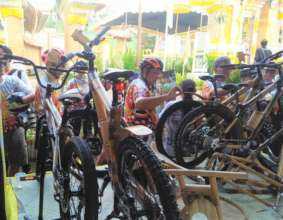 Our bamboo bikes stand at Karangasem festival