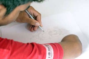Inclusive Art Students practices drawing
