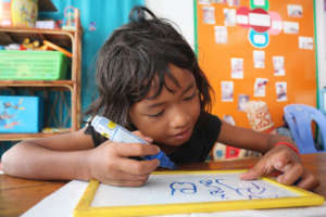 Learning to write in Khmer