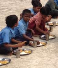 children having lunch at school