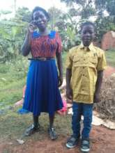 James and mum in their new clothes