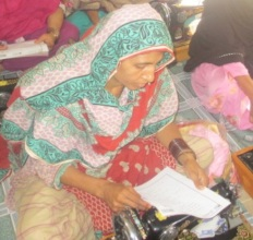 Orphan girl getting stitching vocational training