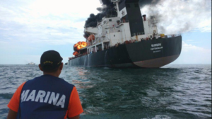 The oil tanker in flames. | Photo: Mexican Navy.