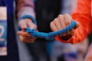Guide rope with visually impaired runner
