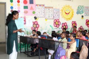 Varsha teaches kindergarden