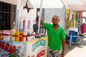 Jose with his ceviche cart in Cartagena