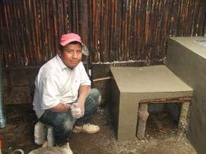 A mason constructing a stove