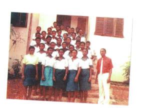 orphaned girls with a teacher