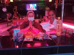 Thankful women in the Bar