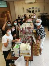 Our Team packing food donations!