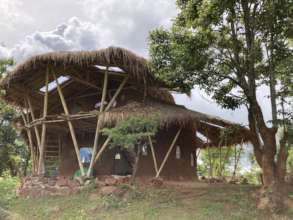 Our first bamboo and earthen cottage at the Centre