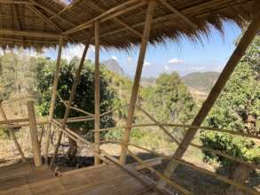 Views into surrounding villages from bamboo hall