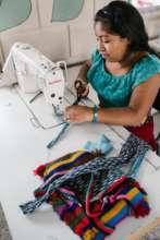 Katarina sewing in our new sewing workshop!
