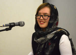 Farishta, speaking on a panel at her university