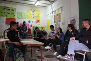Secondary students sharing the experience