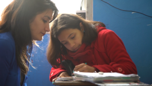A tutor accompanies the children every day