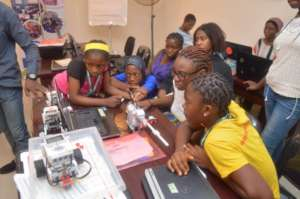 During the Robotics class at the She Creates Camp
