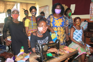 Vocational Students wearing masks in class